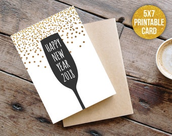 new years card, happy new year card, happy 2018 card, printable card, happy new year,  new year celebration, silvester card, new year card
