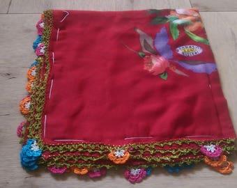 10 percent OFF FREE Shipping, Traditional Turkish Oya, Multicolored Scarf, Tığ Oya, Turkish lace 6