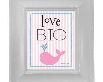 Pink Whale Love Big - Framed Art