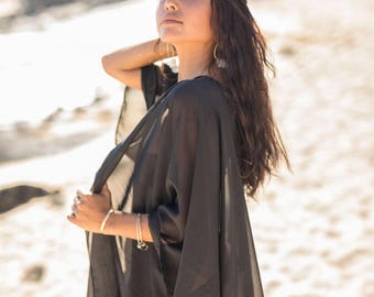 Sheer Black Kimono Cover-Up