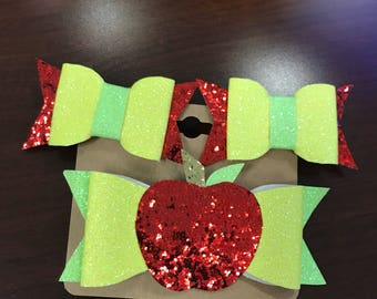 Back fo school bow set- apple bow- green and yellow- glitter bow- apple glitter bow