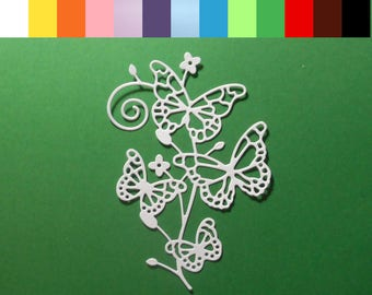 """Intricate Butterflies on a Flourish Branch Die Cuts 4 1/2 x 3"""" Choose color Cardstock Paper Butterfly Scrapbook Card Embellishment 4 pc"""