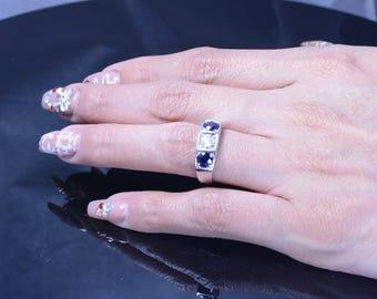3 Stone Diamond and Blue Sapphire 14k White Gold Ring