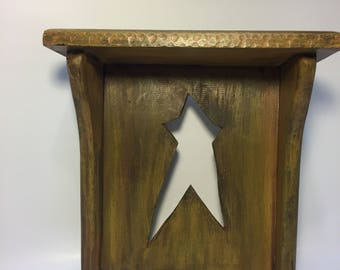 Country primitive star wall shelf