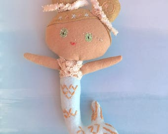Baby Goldie Mermaid Doll, Handmade felt doll with embroidery details based on pattern from Aimee Rae.  Looking for a loving forever home.