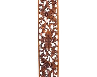 Balinese Wood Carving - Lotus Flower Suar Wood Panel - Medium
