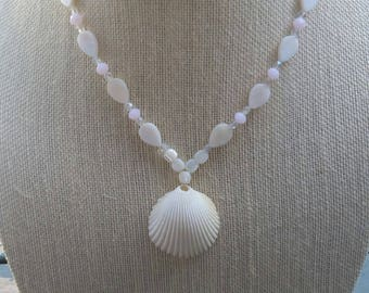 Mother of Pearl Necklace & Natural Sea Shell Pendant