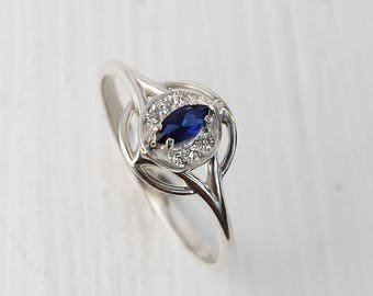 Anniversary ring, Antique ring, Sapphire ring, Victorian ring, Art deco ring, Unique ring silver, Marquise ring, Blue stone ring