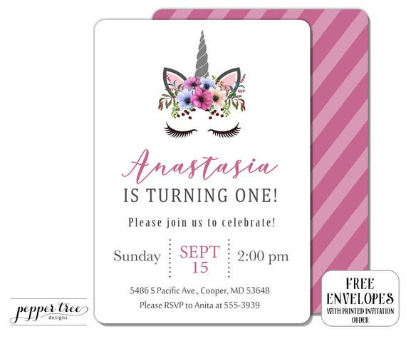 Unicorn Birthday Invitation With Face And Flowers
