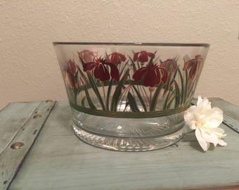 Culver, Iris Cinnabar, Ice Bucket, Red Gold IRIS, Gilded Glass, Vintage Culver