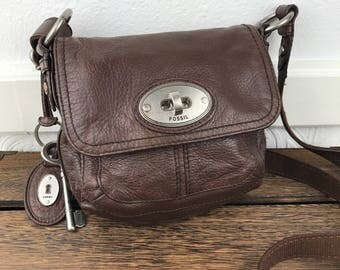 FOSSIL Brown Leather Crossbody Bag Flap Bag