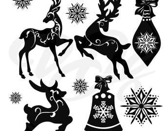 Christmas Clipart, Reindeer Clipart, Santa's Reindeer, Christmas Ornament Clipart,snowflake,merry christmas,.Silhouette SVG,PNG,eps,dxf,jpg