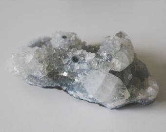 Pale Blue and Clear Large, High Grade Apophyllite Cluster