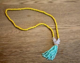 Quartz and Yellow Tassel Necklace