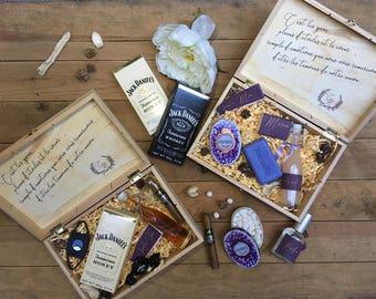 Boite témoin, parrain, marraine / Box gift groom / Cadeaux témoin / Demande parrain et marraine