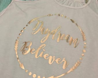Daydream Believer Rose Gold Foil Monkees Hippie Bella Canvas Flowy Tank Top Summer XS S M L XL 2X 3X Plus Size