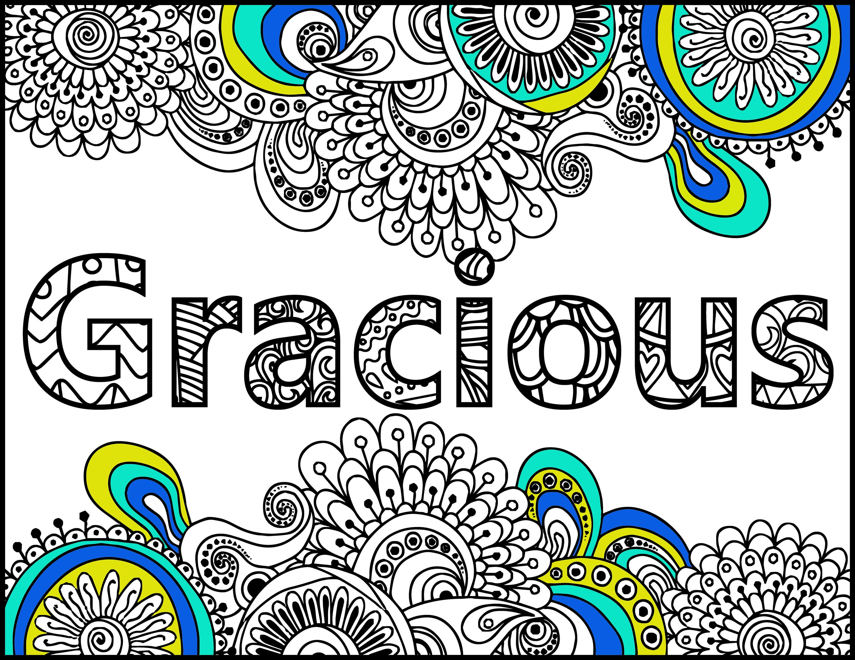 Positive Affirmations Coloring Pages For Adults I Am Gracious