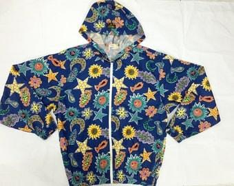 30% sale!!!Vintage 80s ELLESSE Fullprint Zipped Hoodie Jaspo Supreme Nike Adidas hip hop gangsta rap