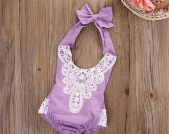 Lavender Lace Romper for babes 4-6 months, 7-9 months, 10-12 months, 13-18 months, 19-24 months
