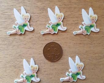 5 plastic flat back tinkerbell fairies