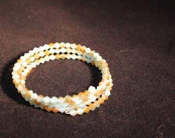 wrap bracelet, light aqua and gold