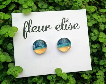 Hand Painted Glass Studs - 10mm