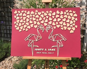 Personalised 3D Wedding guest book, wood, flamingo