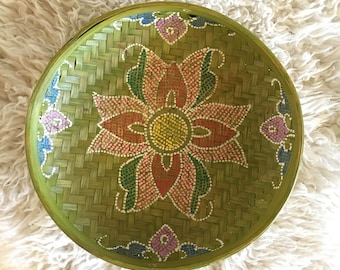 Vintage hand painted woven bowl - green - global decor