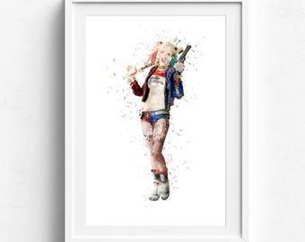 Harley quinn print, harley quinn poster, Suicide Squad, Harley Quinn, Art Joker, Comic Art, DC Prints, superhero art