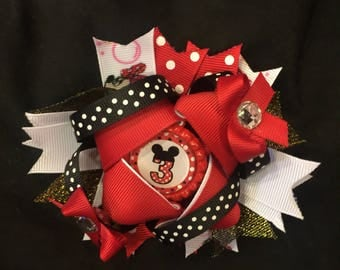 Minnie Mouse 3rd Birthday Hair  Bow