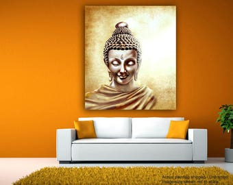 Tamatina Canvas Art - Shanti Buddha - Abstract - Buddhism - Tibetan Art - Giclée Art - Unframed - Size 36 inches X 30 inches.