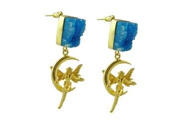 Geode Stud Earring, Handmade Druzy Earring, Drusy Wholesale Earring, Bridesmaid Jewellery,Angel Design Earring, Gold Plated Earring