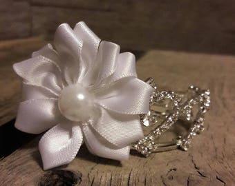White Thin Elastic with White Satin Flower
