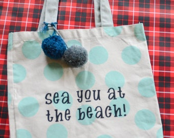 Sea You at the Beach canvas tote