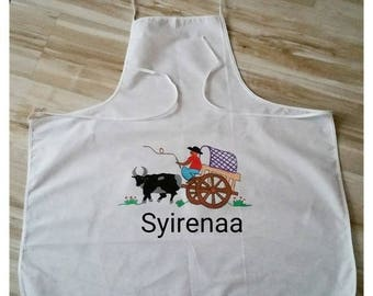 Kitchen apron in cotton with Malagasy character