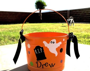 Personalized Halloween bucket two-sided/custom halloween bucket / monogrammed / trick-or-treat bucket / my first halloween / halloween child