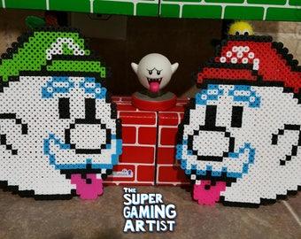 Super Mario - Boo Mario & Boo Luigi | Custom Made | Mario Perler | 8-bit | Perler Bead Art