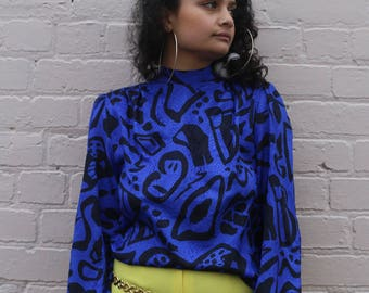 80s Blue & Black Abstract Patterned Disco Shirt