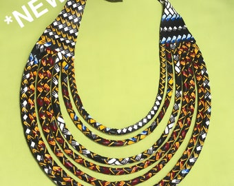 RE-STOCK! SALE 30%! Necklaces for women wax. Composed of 7 strips and worn as a Choker. Plastron kind