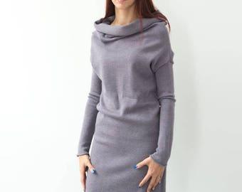Pink gray hoodie dress with long sleeves, Laevander sweater dress, warm winter dress, merino wool dress with hood, knitted dress