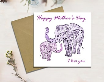 Mothers Day Card, Elephant Card, Mum, Mom, Mother, Grandmother