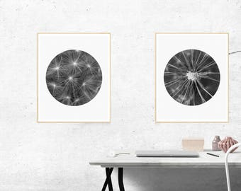 Dandelion Print, Macro Print, Black and White Print, Minimalist Print, Macro Photography Print, Black and White Art, Digital Prints