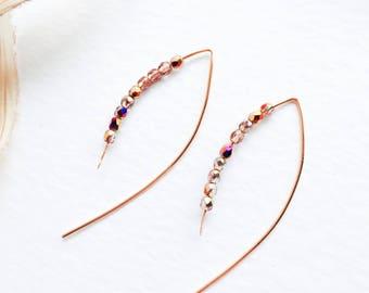 Beaded Copper Earrings Simple Earrings Copper Jewelry Czech Glass Earrings Firepolished Beads Earrings Modern Earrings Casual Earrings