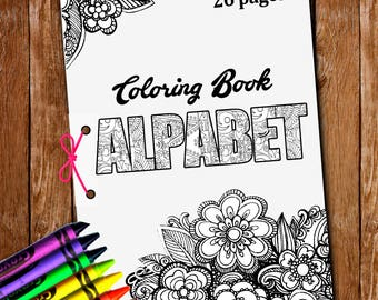 26 pgs Alphabet coloring,letters coloring,Alphabet letters,printable letters,Coloring Book PDF,coloring book,coloring page,antistress color