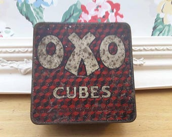 Vintage OXO tin, lovely typography inside & out. A Great collectible advertising item