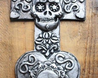 Silver mexican wall hanging cross decoration, gothic, punk, rock, emo home decor