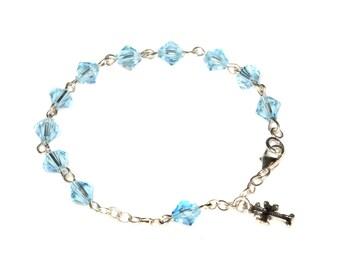 Aquamarine Blue - Sterling Silver Child Rosary Bracelet made with Aquamarine Blue Swarovski Crystal Elements (March)