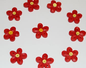 50 flowers made of paper, scrapbooking, confetti, table decoration, paper, quilling, manual work