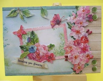 Card 3D (raised) flowers and butterflies