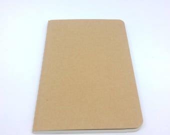 Notebook with lines to customize 90x140mm 64 pages kraft cardboard cover
